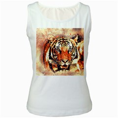 Tiger Portrait Art Abstract Women s White Tank Top