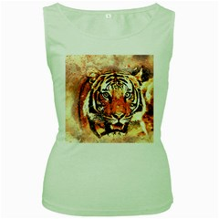 Tiger Portrait Art Abstract Women s Green Tank Top by Nexatart