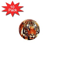 Tiger Portrait Art Abstract 1  Mini Buttons (10 Pack)