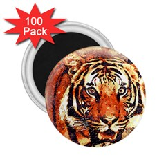 Tiger Portrait Art Abstract 2 25  Magnets (100 Pack)  by Nexatart