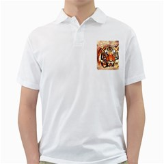 Tiger Portrait Art Abstract Golf Shirts