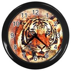 Tiger Portrait Art Abstract Wall Clocks (black)