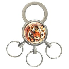Tiger Portrait Art Abstract 3 Ring Key Chains