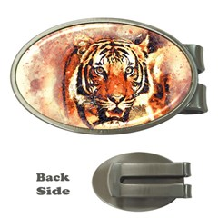 Tiger Portrait Art Abstract Money Clips (oval)