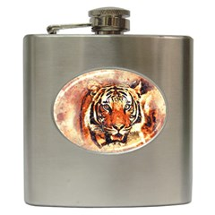 Tiger Portrait Art Abstract Hip Flask (6 Oz)