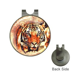 Tiger Portrait Art Abstract Hat Clips With Golf Markers