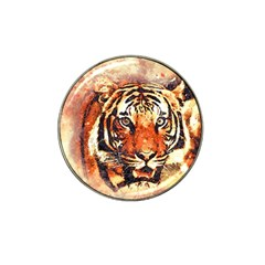 Tiger Portrait Art Abstract Hat Clip Ball Marker by Nexatart