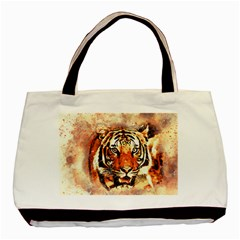 Tiger Portrait Art Abstract Basic Tote Bag