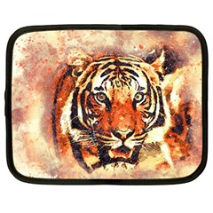 Tiger Portrait Art Abstract Netbook Case (large)
