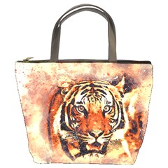 Tiger Portrait Art Abstract Bucket Bags