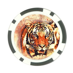 Tiger Portrait Art Abstract Poker Chip Card Guard (10 Pack)