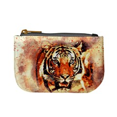 Tiger Portrait Art Abstract Mini Coin Purses