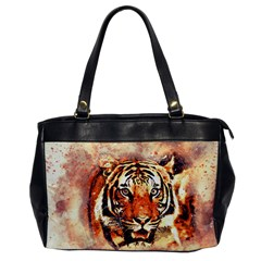 Tiger Portrait Art Abstract Office Handbags