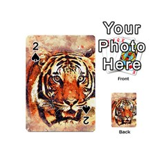 Tiger Portrait Art Abstract Playing Cards 54 (mini)  by Nexatart