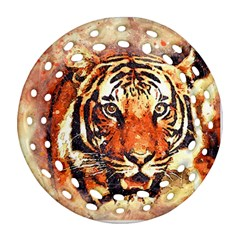 Tiger Portrait Art Abstract Round Filigree Ornament (two Sides)