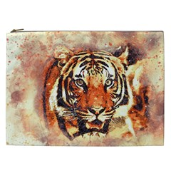 Tiger Portrait Art Abstract Cosmetic Bag (xxl)