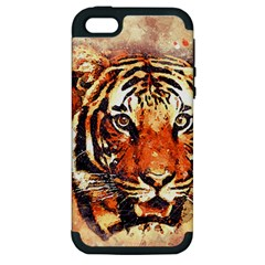Tiger Portrait Art Abstract Apple Iphone 5 Hardshell Case (pc+silicone)