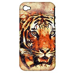 Tiger Portrait Art Abstract Apple Iphone 4/4s Hardshell Case (pc+silicone)