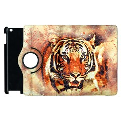 Tiger Portrait Art Abstract Apple Ipad 3/4 Flip 360 Case