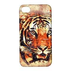 Tiger Portrait Art Abstract Apple Iphone 4/4s Hardshell Case With Stand by Nexatart