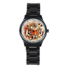 Tiger Portrait Art Abstract Stainless Steel Round Watch