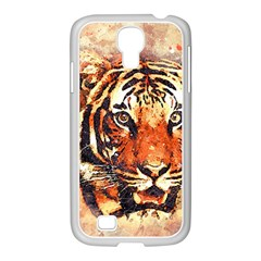 Tiger Portrait Art Abstract Samsung Galaxy S4 I9500/ I9505 Case (white)