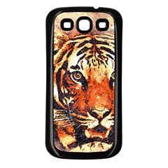 Tiger Portrait Art Abstract Samsung Galaxy S3 Back Case (black)