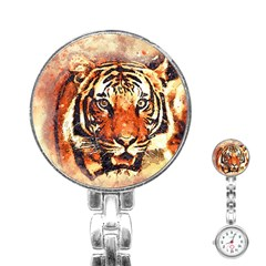 Tiger Portrait Art Abstract Stainless Steel Nurses Watch