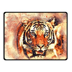 Tiger Portrait Art Abstract Double Sided Fleece Blanket (small)  by Nexatart