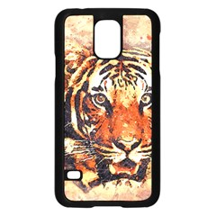 Tiger Portrait Art Abstract Samsung Galaxy S5 Case (black)