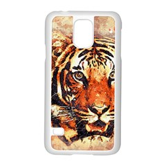 Tiger Portrait Art Abstract Samsung Galaxy S5 Case (white)