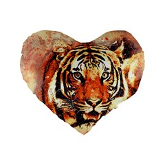 Tiger Portrait Art Abstract Standard 16  Premium Flano Heart Shape Cushions