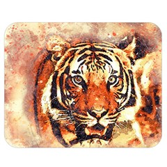 Tiger Portrait Art Abstract Double Sided Flano Blanket (medium)