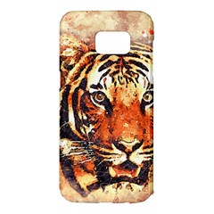 Tiger Portrait Art Abstract Samsung Galaxy S7 Edge Hardshell Case