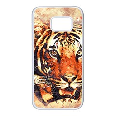 Tiger Portrait Art Abstract Samsung Galaxy S7 White Seamless Case by Nexatart