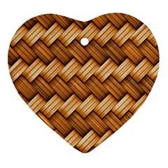 Basket Fibers Basket Texture Braid Ornament (heart)