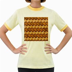 Basket Fibers Basket Texture Braid Women s Fitted Ringer T Shirts