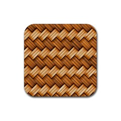 Basket Fibers Basket Texture Braid Rubber Square Coaster (4 Pack)