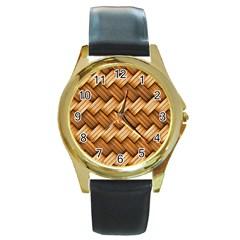 Basket Fibers Basket Texture Braid Round Gold Metal Watch