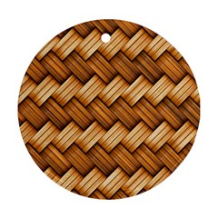Basket Fibers Basket Texture Braid Round Ornament (two Sides)