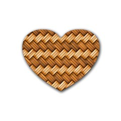 Basket Fibers Basket Texture Braid Rubber Coaster (heart)