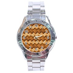 Basket Fibers Basket Texture Braid Stainless Steel Analogue Watch
