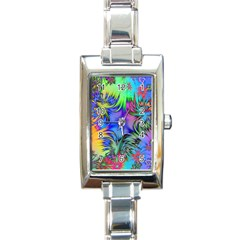 Star Abstract Colorful Fireworks Rectangle Italian Charm Watch