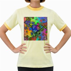Star Abstract Colorful Fireworks Women s Fitted Ringer T Shirts