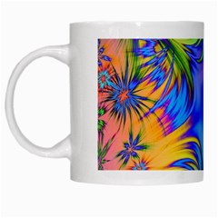 Star Abstract Colorful Fireworks White Mugs