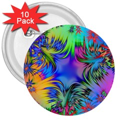 Star Abstract Colorful Fireworks 3  Buttons (10 Pack)