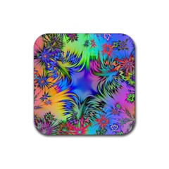 Star Abstract Colorful Fireworks Rubber Square Coaster (4 Pack)