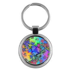 Star Abstract Colorful Fireworks Key Chains (round)