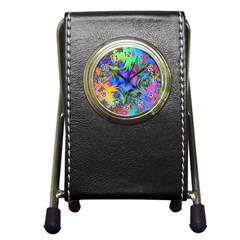 Star Abstract Colorful Fireworks Pen Holder Desk Clocks