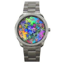 Star Abstract Colorful Fireworks Sport Metal Watch